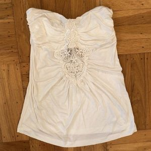 Tops - New ivory/white tube top with lace detail